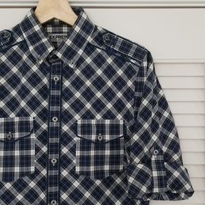 Express Fitted Shirt Sleeve Roll 14-14½ Gingham